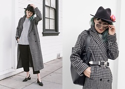 Nancy Qian - Asos Houndstooth Coat, Zara Double Buckle Belt - Houndstooth coat two ways