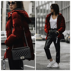 Jasmin Kessler - Ivy Park Puffer Jacket, Pants, See All Photos On My Blog - RED PUFFER JACKET