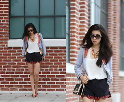 Adrienne Nguyen - Free People Beaded Jacket, Burberry Orange Suede Flats, Rachel Roy Scallop Shorts, Lush Cream Tank Top, Z Spoke Zac Posen Mini Loren Crossbody, Chanel Sunglasses - Trail of Beads