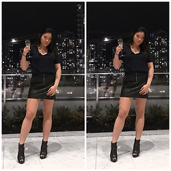 Valerie Mak - Le Chateau Booties, Dynamite Faux Leather Skirt, Dynamite Chiffon Crop - New Year