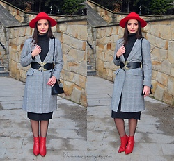 Natalia Uliasz - Sammydress Red Hat, Rosegal Sweater Dress, Zaful Checked Coat, Zaful Corest Belt, Rosegal Bag, Deezee.Pl Red Boots - Gray checkered coat
