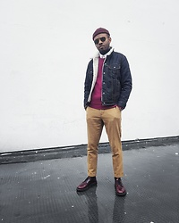 Martell Campbell - Levi's Shearling Denim Jacket, Churchs Derby Shoes, Ray Ban Sunglasses - HNY