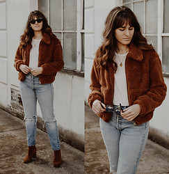 Tonya S. - Urban Outfitters Uo Teddy Coat, Levis Vintage 501 Jeans, Cecile Ankle Boot - Teddy Coat