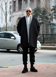 INWON LEE - Byther Knit Shawl Jacket, Byther Collarless Wool Open Coat, Byther Woolen Jogger Pants - Minimalism