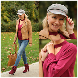 Małgorzata Miłosz - Stradivarius Cap, Camaieu Sweater With Chocker, H&M Pregnancy Jeans, Dee Zee Burgundy Red Shoes - Cap