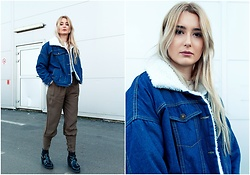 Sofija Surdilovic - Shein Denim Contrast Faux Shearling Jacket, Shein Tailored Cigarette Buckle Pants, Chrystal Black Chunky Boots - The jacket!