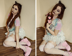 Isabell Mertens - Demonia Pink Platforms, Dolls Kill Evil Kitty Tie Dye T Shirt - Pastel Kitty