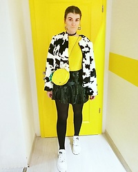 Alison Videoland - Forever 21 Cow Jacket, Skinnydip London Lemon Bag, H&M Pvc Skirt, Buffalo White Boots, Zara Yellow T Shirt - When life gives you lemons make a cute outfit