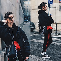 Izabella - Reserved Bomber, Bershka Bag, Bershka Pants, Vans Shoes, Nike Sox - JOKE | OFF-white