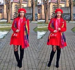 Natalia Uliasz - H&M Red Beret, Zaful Pink Blouse, Sammydress Red Bag, Mohito Red Skirt, Zaful High Boots - Lady in red and pink