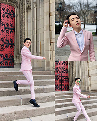 Enrique Sun - Topman Collar Tips, Zara Leather Shoes, Asos Pink Suit, Ray Ban Sunglasses - Wedding ceremony