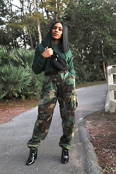 Crystal Mejia - Urban Outfitters Green Crop Hoodie, Urban Outfitters Camou Pants, Aldo Patent Boots, Forever 21 Fanny Pack - Forest Green