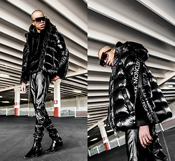 Dominic Grizzelle - Moncler Shiny Puffer, Urban Outfitters Faux Fur Hoodie, H&M Leather Pants, Asos Pointed Boot - Moncler