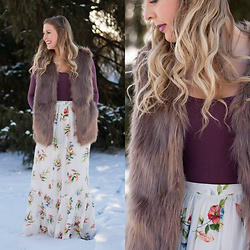 BG by Christina L - Justfashionnow Tan Faux Fur Vest, Forever 21 Floral Maxi Skirt, Brittany's Beauty Box Berry Bodysuit - How to Rock a Floral Print in Winter!