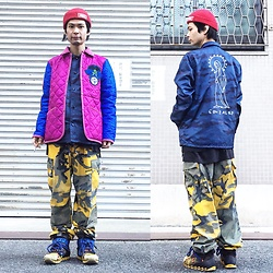 @KiD - Obey Red Beenie, Lavenham Cassette Playa, Mark Gonzales Coach Jacket, Rothco Yellow Camouflage, Camper Bernhard Willherm - JapaneseTrash278