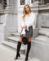 Maria B - Zara Cotton Blouse, H&M Plaid Mini Skirt, Zara Over The Knee Boots, Zara Mini Bucket Bag - Over The Knee Boots