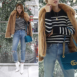 Rekay Style - Lpa Faux Fur Jacket, Iro Stripe Knit Top, Gucci Marmont Velvet, Grlfrnd Straight Fit Jeans, Raye White Boots - Teddy Fur Jacket