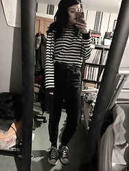 Idolsandanchors - Converse Monochrome Hightops, Motel Rocks I Want Change Longsleeve, Asos Mom Jeans, New Look Western Belt -  Afterglow