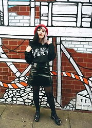 Jessica Gutteridge - Downfall Clothing Hoody, Primark Pvc Skirt, Pull & Bear Reds Berret - Downfall