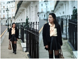 Thuy Pham - H&M Fur Jacket, Thailand Store   Fys Shirt, Forever 21 Faux Leather A Skirt, Longchamp Bag, Ccc Over Knee Boots - Knightsbridge strolls