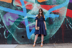 Tracie Marie - Tibi Navy Ruffle Dress, & Other Stories Suede Sandals - In the Navy Summer Dress