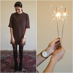 Marijana M - Pull & Bear Glittery Dress, Bershka Ankle Boots, Cluse Rose Gold Watch, H&M Black Control Tights - Happy New Year