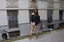 Tracie Marie - Shoshanna Black Printed Off The Shoulder Top, Topshop Denim Shorts, M.I.A Suede Fringe Booties - Summer Fridays in a Floral Off the Shoulder Shoshanna Top