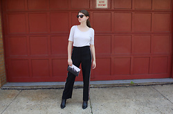 Tracie Marie - H&M White T Shirt, & Other Stories Black Striped Trousers, Steve Madden Black Booties - Striped Trousers and Anne Cate City Skylines