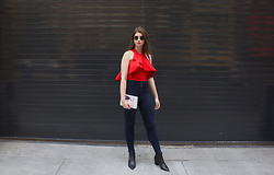 Tracie Marie - Kendall And Kylie Red Ruffle Crop Top, American Eagle Outfitters Dark Wash Skinny Jeans, Aldo Black Booties - Rent the Runway Saved My Closet
