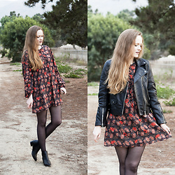 Emily S. - Zara Leather Jacket, Zara Shift Dress, Ebay Tights, Marc Fisher Chelsea Boots - Leather & Leaf