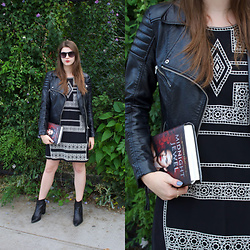 Tracie Marie - Parker Embroidered Dress, H&M Black Faux Leather Jacket, Aldo Black Booties - Black and White Embroidered Dress for Fall