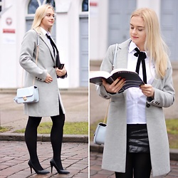 Natalia Piatczyc - Primark Grey Coat, Bonprix Blue Tote Bag, Bonprix Black High Heels, Bonprix White Shirt - Elegant look