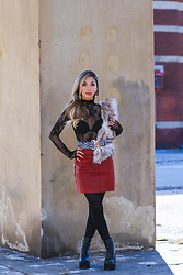 Eliza Romero - Free People Lace Sheer Turtleneck, New Look Maroon Leather Miniskirt, Bebe Amethyst And Gold Snake Drop Earrings, Sacred Hawk Double Buckle Zebra Belt, Hue Black Opaque Tights, Jeffrey Campbell Shoes Black Platform Boots - Post Holiday Lull