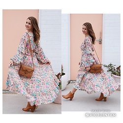 Heidi Landford - Spell Designs Sayulita Gown, Wood Grey Woven Bag, Midas Boots - Cult Florals