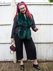 Olivia Lynn -  - Green Faux Fur & Black Mules