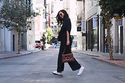 Tiffany Wang - Isalis Jumpsuit, Jw Anderson Purse, Reebok Sneakers, Ray Ban Sunglasses - MAIDEN LANE