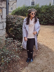 TheVagabondWayfarer - Loft Sweater, Hunter Rain Boots, Zaful Coat - Grey tones