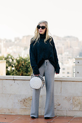 Meagan Brandon - Oversized Turtleneck (On Sale!), Cashmere Pants (Similar), Circle Handbag, Sock Boots - Soft Winter Knits