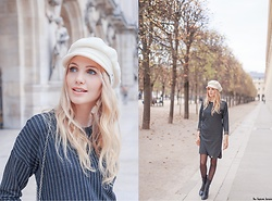 Eleonora Albrecht - Animagemella Striped Dress, Laulhère White Beret - Black & White