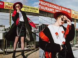 Andreea Birsan - Rose Embroidered T Shirt, Patent Skirt With Diagonal Zippers, Fishnet Tights, Heeled Black Sock Boots, Black Teddy Coat, Red Scarf, Red Fedora Hat, Retro Sunglasses - On Wednesdays we wear black