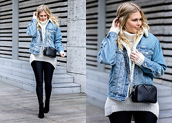 Sunnyinga - Asos Denim Jacket, Weekday Sweater, Leggings, H&M Boots, Karl Lagerfeld Bag - Denim jacket with fake fur collar