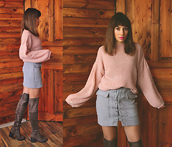 Jointy&Croissanty © -  - Pastel pink puffed sleeve sweater
