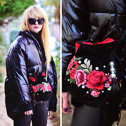 Wioletta M - My Fashion Diy Sewing Bag, Top Shop Jacket - Total Black & My DIY Bucket Bag