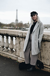 Elizabeth Claire - H&M Greek Fisherman's Jacket, John Lewis Grey Coat, Boohoo Black Roll Neck, Mango Checked Trousers, Asos Black Chelsea Boots, Clarks Black Patent Leather Bag - Bonjour