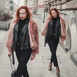 Anna Jaroszewska - Pellobello Faux Fur, Mango Biker Jacket, Gucci Belt, Wrangler Retro Jeans, Mango Turtleneck, Na Kd Shoes - FROM PARIS TO BERLIN