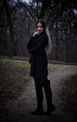 Raluca M - Bershka Black Overknee Boots, Stradivarius Long Black Sweater - All black outfit