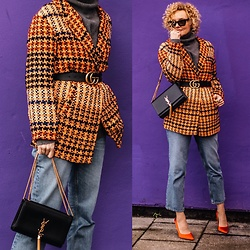 Renia - Saint Laurent Bag, H&M Jeans - Orange and ultraviolet