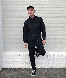 No Rehearsal - Raf Simons Tape Hat, Supreme Varsity Jacket, Cos Casual Pants, Vans Old Skool Sneakers - 12. DARK