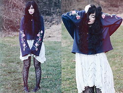 Adrianna Ghost - H&M Floral Sweater, Free People Slip, Dr. Martens Mary Jane - Thunder