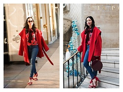 Lisa Valerie Morgan - Coat, Mott & Bow Jeans, Blouse, Shoes Of Prey Sandals - How to Wear Florals in Winter